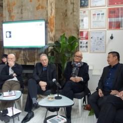 左起:CCAA总监刘栗溧,评委嘉宾乌利·希克(Uli Sigg)、查尔斯·加利亚诺(Charles Guarino)、郑胜天、皮力、马克·瑞伯特 (Mark Rapplot)