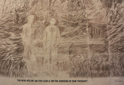 """A rare Gilbert & George drawing from 1971, """"THE HEAD AFLOAT ON TOP LEVELS ON THE HORIZON OF OUR THOUGHT"""" at Sperone Westwater."""