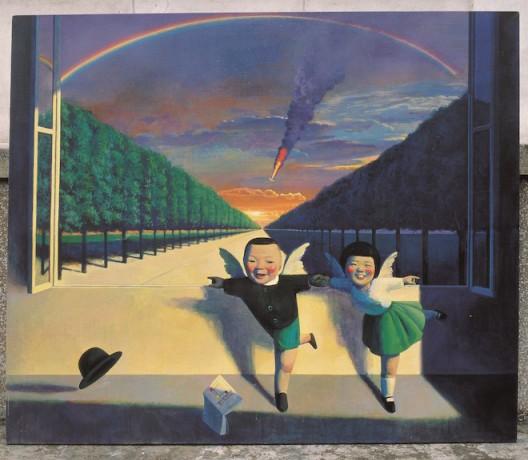 1995-15.金光大道,Bright Road,170x200cm,acrylic and oil on canvas