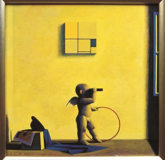 1995-5为了蒙德里安的黄和蓝,Yellow and Blue for M,45x45cm,acrylic and oil on canvas