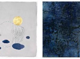 """由左至右:Crystal Liu - 《The moon """"merged""""》 水墨纸本设色及金箔  38 x 38cm  2015年 戚彧 – 《皈元NO.015-03》 布面陶瓷艺术 100 x 100cm 2015年"""