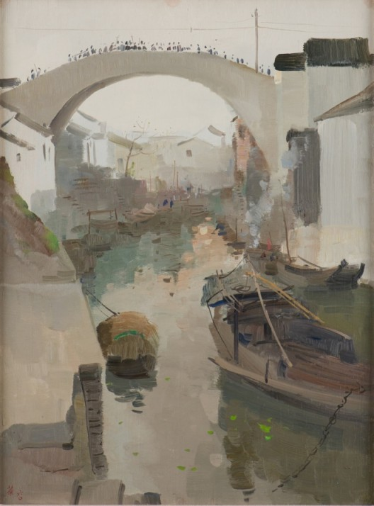 Wu Guanzhong - Hometown Morning (吴冠中《家乡的早晨》)(Image Courtesy of National Heritage Board)