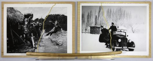 Sarkis, Kintusgi avec Aguirre (Werner Herzog) et Jours Glacés (Andras Kovacs) + Bokken Kendo, 2015. Inkjet print on Arches paper 300gr, gold upon Kintsugi method, bokken kendo, 63 x 168 cm.