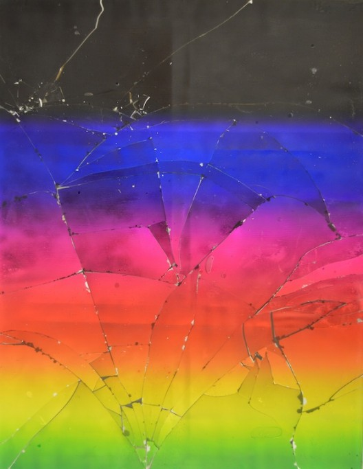 Luca Dellaverson Untitled, 2015 Epoxy resin and UV cured inkjet print on glass with wood support 167,64 x 129,54 cm © Courtesy of the artist Galerie Nathalie Obadia, Paris/Bruxelles