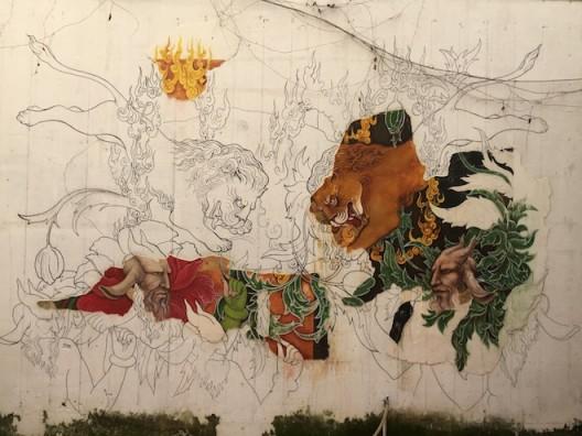 'Lion Nation' 2015, by Afghani artists Khadim Ali and Sher Ali. San Art commissioned mural, San Art courtyard (image courtesy Sàn Art)