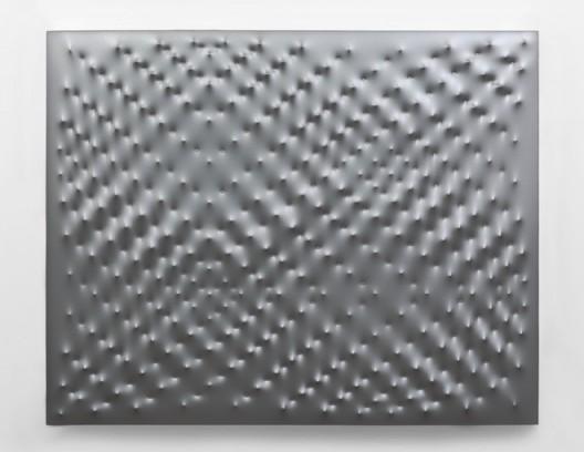 Enrico Castellani, Superficie argento, 2008. Acrylic on canvas. 47 1/4 x 59 inches (120 x 150 cm). © DACS 2016. Courtesy Fondazione Enrico Castellani.