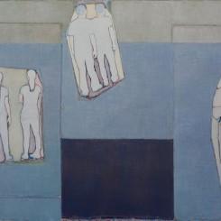 唐永祥,《色块和三组人形》,布面油画,200×300cm,2015(图片由艺术家和魔金石空间提供)