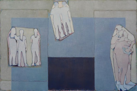 Tang Yongxiang, Blocks of Color and Three Groups of Figures, Oil on canvas, 200×300cm, 2015 (Courtesy the artist and Magician Space)