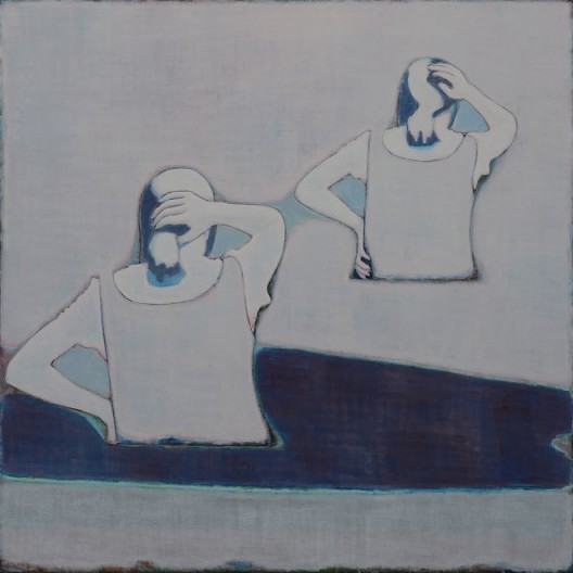 Tang Yongxiang, The Backs of Two Girls Stroking Their Hair, Oil on canvas, 138×138cm, 2015 (Courtesy the artist and Magician Space)