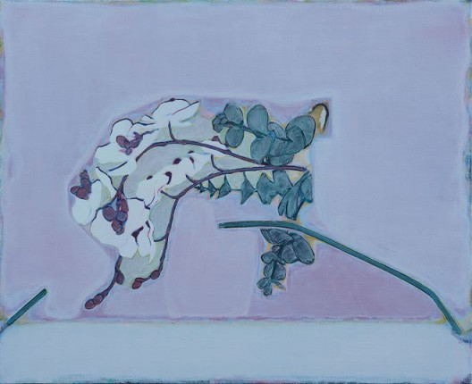 Tang Yongxiang, A Flower Lying On A Pink Background With Two Lines Underneath, Oil on canvas, 65×80cm, 2015 (Courtesy the artist and Magician Space)