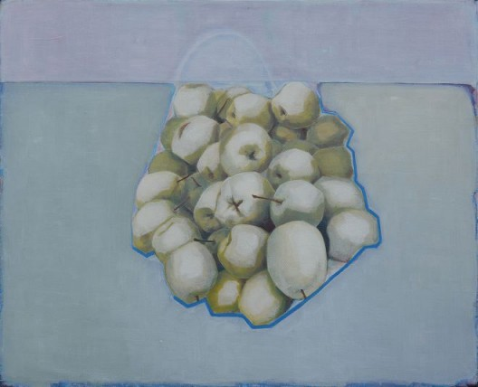 Tang Yongxiang, Pears Next to Blue Line, Oil on canvas, 65×80cm, 2015 (Courtesy the artist and Magician Space)