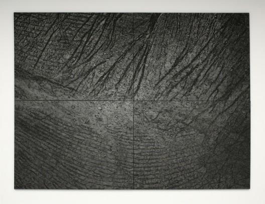 "Giuseppe Penone drawing ""Pelle di grafite"" at Marian Goodman (booth IC18)"