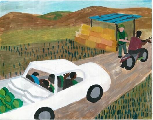 "张玥和包晓伟,《睡到半夜,一名同盟军的小士兵跑进帐篷把我们推醒,说他们的连长被炮弹炸断了腿,让我们出一百五十元钱,包晓伟掏出钱给了他们,我惊叹难民营里消息传递之快。心想接下来的生活会充满很多不安全的因素》,卡通插画,2015(图片由艺术家和杨画廊提供) / Zhang Yue and Bao Xiaowei, ""At the midnight, still sleeping, we were awaken by a young soldier of the Alliance Army. He said their captain had his leg broken by a cannon shot, and demanded us to contribute 150 yuan. Bao Xiaowei gave him the money. I wondered how fast information was transmitted in the camp, and thought that our ensuing lives would be full of unsafe elements"", cartoon, 2015 (courtesy of the artist and Gallery Yang)"