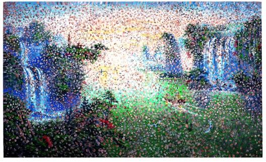 王音,《沙尘暴》(Sandstorm),布面油彩(Oil on canvas),180×300cm,2002