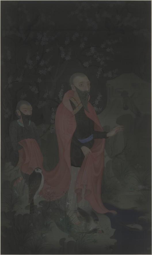 郝量,《林间记》(The Story of the Woods),绢本重彩(Ink and color on silk),250x150 cm, 2011