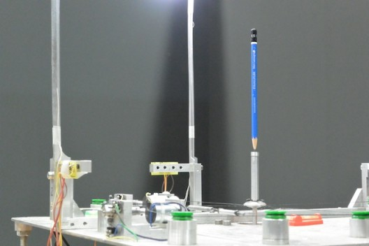 Not everything in Basel is big. Steven Pippin made a machine to keep a pencil balanced on its point!