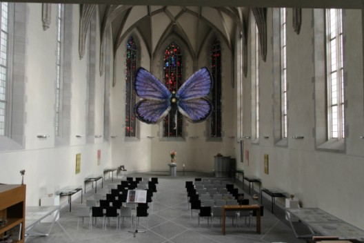 Evgeny Antufiev's joint venture with pastor Martin Rüsch at the Wasserkirche. Courtesy of Manifesta 11, ©Wolfgang Traeger