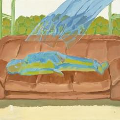 "唐志冈,《世像:困顿》,布面油画,109 × 148.5 cm,2014(图片由艺术家和汉雅轩画廊提供)/ Tang Zhigang, ""WorldPlay: Enervated"", oil on canvas, 109 × 148.5 cm, 2014 (courtesy the artist and Hanart TZ Gallery)"