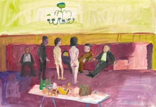 "唐志冈,《世像:嫖娼》,纸上广告颜料,53.5 × 77 cm,2014(图片由艺术家和汉雅轩画廊提供)/ Tang Zhigang, ""WorldPlay: Prostitution"", poster color on paper, 53.5 × 77 cm, 2014 (courtesy the artist and Hanart TZ Gallery)"