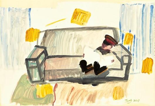 "唐志冈,《世像:读书》,纸上广告颜料,55.5 × 79 cm,2013(图片由艺术家和汉雅轩画廊提供)/ Tang Zhigang, ""WorldPlay: Reading"", poster color on paper, 55.5 × 79 cm, 2013 (courtesy the artist and Hanart TZ Gallery)"