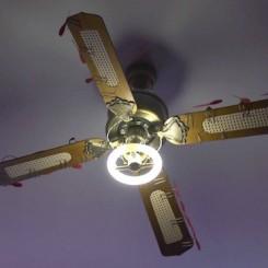 Dead Air Installation view. Samuel Adam Swope. 2014. dead [broken] ceiling fan, custom electronic cirucits and program, DC motors and propellers, steel