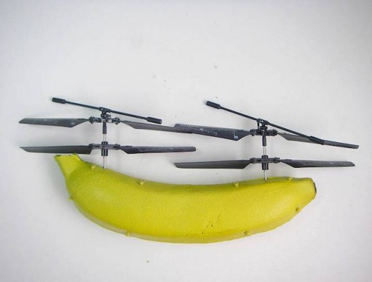 Banana 'copter 2010. remote control helicopter parts, stainless steel wire mesh, paper, glue, rubberbands, acrylic and spray paint, banana residue