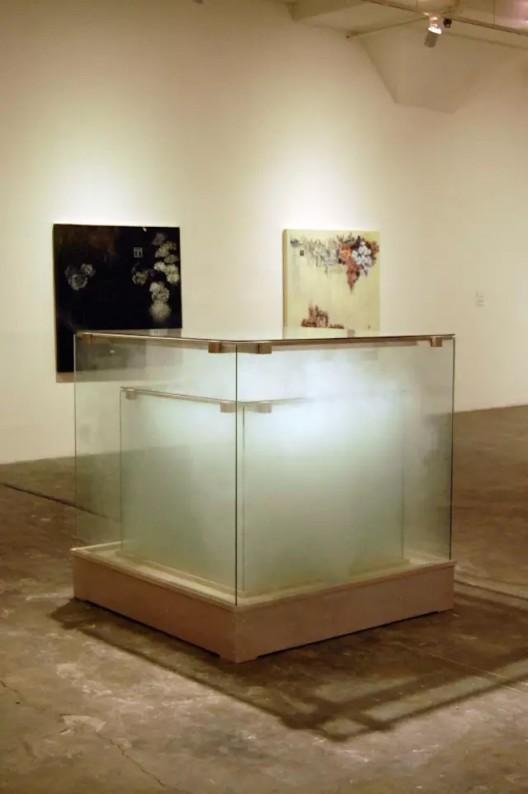 Untitled 2009. wood, glass, custom electronic circuits and program, smoke machine, scented smoke, fans