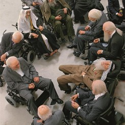 """Sun Yuan & Peng Yu, """"Old People's Home"""", installation with 13 life-size puppets on motorized wheel chairs, dimensions variable, 2007. M+ Sigg Collection, Hong Kong. By donation © Sun Yuan & Peng Yu."""