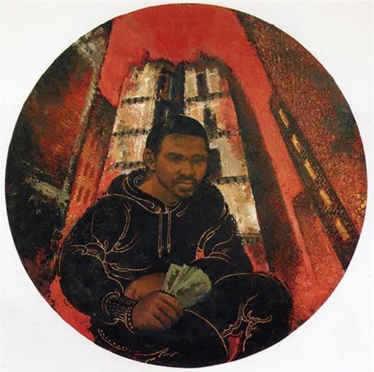 "黄马鼎,《富有》,布面丙烯,直径122 cm,1986(图片由纽约P.P.O.W画廊提供)/ Martin Wong, ""In the Money"", acrylic on canvas, 122 cm diameter, 1986 (courtesy P.P.O.W Gallery, New York)"