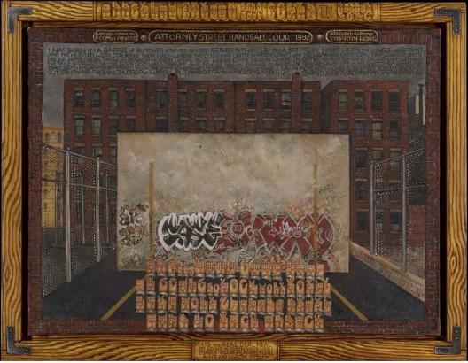 "黄马鼎,《讼师街(手球场和皮尼罗的自传诗)》,布面油画,90 × 122 cm,1982–1984(大都会艺术博物馆的收藏,伊迪丝C·布鲁姆基金)/ Martin Wong, ""Attorney Street (Handball Court with Autobiographical Poem by Pinero)"", oil on canvas, 90 × 122 cm, 1982–4 (Collection of the Metropolitan Museum of Art, Edith C. Blum Fund)"