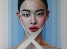 Lily with Ribbon, 2016. Oil and acrylic on canvas. 180 x 150 cm