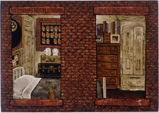 """黄马鼎,《我的秘密世界,1978–1981》,布面丙烯,122 × 173 cm,1984(梅尔瓦·巴克斯鲍姆和雷蒙德·利尔希的收藏) / Martin Wong, """"My Secret World, 1978–81"""", acrylic on canvas, 122 × 173 cm, 1984 (Collection of Melva Bucksbaum and Raymond Learsy)"""