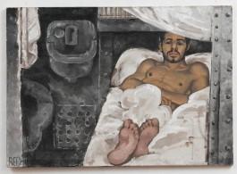 "黄马鼎,《不顾一切》,布面丙烯,86 × 122 cm,1991(图片由艺术家遗产管理公司和纽约P.P.O.W.提供)/ Martin Wong, ""Reckless"", acrylic on canvas, 86 × 122 cm, 1991 (Courtesy of the Estate and P.P.O.W, New York"