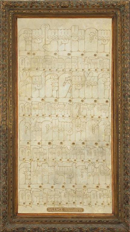 "黄马鼎,《寂静》,布面丙烯,142.2 × 80 cm,1982(加利福尼亚大学、伯克利艺术博物馆和太平洋电影档案馆的收藏;通过黄马鼎基金会的赠送以及菲比·阿帕森·赫斯特的遗赠,实现购买)/ Martin Wong, ""Silence"", acrylic on canvas, 142.2 × 80 cm, 1982 (collection of the University of California, Berkeley Art Museum and Pacific Film Archive; purchase made possible through a gift of the Martin Wong Foundation and a bequest of Phoebe Apperson Hearst, by exchange"