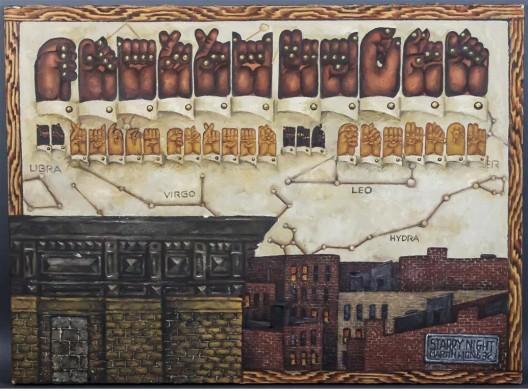 """黄马鼎,《星空》,布面油画,56 × 76 cm,1982(布朗克斯艺术博物馆,苏西和约瑟夫·伯兰的赠送)/ Martin Wong, """"Starry Night"""", oil on canvas, 56 × 76 cm, 1982 (Bronx Museum of the Arts, Gift of Suzy and Joseph Berland)"""
