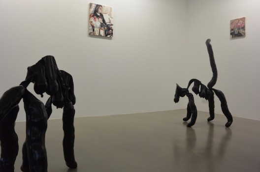 Sarah Lucas's cats with Elizabeth Peyton portraits looking on, unofficially at Sadie Coles