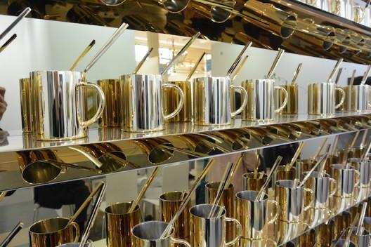More of Zhang Ding's golden mugs and chopsticks at Krinzinger