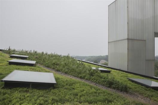 "位于四方当代美术馆楼顶花园的《稊地》项目(艺术家郑波)。/ The ""Weed Plot"" project by Zheng Bo, located on the rooftop of the Sifang Museum."