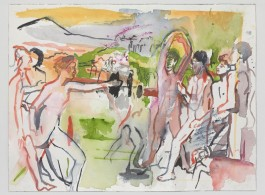 Cecily Brown, Young Spartans (After Degas), 2016. Watercolor and gouache on paper, 12 1/4 x 17 1/8 inches (31.1 x 43.5 cm) © 2016 Cecily Brown