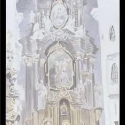 """吕克·图伊曼斯,《教堂》,布面油画,235.5 × 142 cm,2006图片由伦敦/纽约大卫·茨维尔纳画廊提供)/ Luc Tuymans, """"Church"""", oil on canvas, 235.5 × 142 cm, 2006. Courtesy David Zwirner, New York/London."""