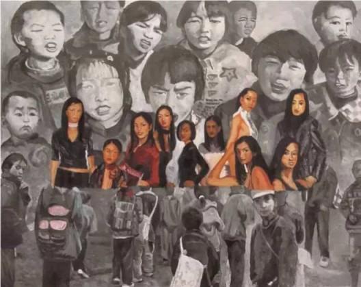 《孩子与模特儿》(2002),余友涵,丙烯、布,250 × 196cm,图片来源于艺术家