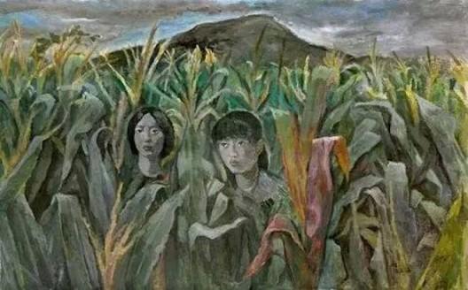 《沂蒙山 05》,(2002),余友涵,丙烯、布,240 × 150cm,图片来源于艺术家