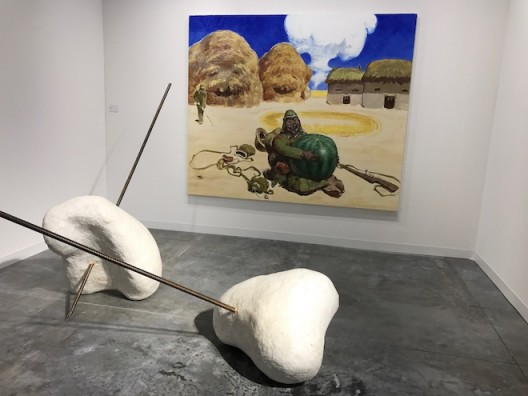 Li Gang (front) and Wang Xingwei (painting) at Galerie Urs Meile