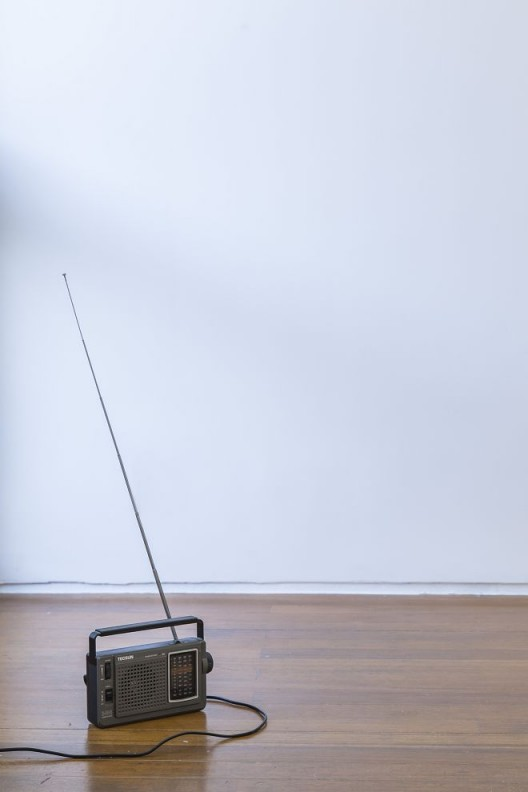 "尼娜·卡内尔,《双翼馆》,调频发射器、调频电台接收器、蠓虫活动磁场静电录音,尺⼨可变(与Robin Watkins共同创作),2014 (感谢LEO XU PROJECTS提供配图) / Nina Canell, ""Two-Winged Pavilion"", FM transmitter, FM radio receiver, electrostatic field recordings of midges and the magnetosphere, Dimensions variable (Produced with Robin Watkins), 2014. Courtesy Leo Xu Projects."