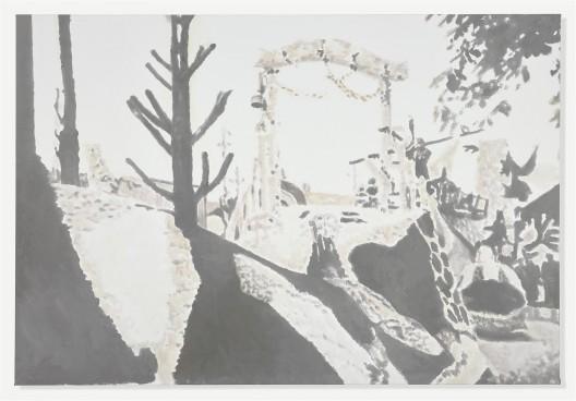 """吕克·图伊曼斯,《科尔索IV》,布面油画,142.2 × 208 cm,2015(图片由伦敦/纽约大卫·茨维尔纳画廊提供)/ (Next page) Luc Tuymans, """"Corso IV"""", oil on canvas, 142.2 × 208 cm, 2015. Courtesy David Zwirner, New York/London."""