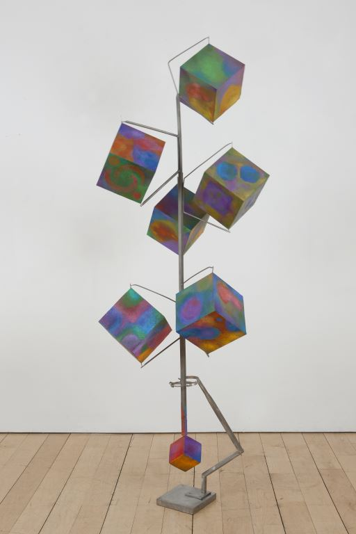 George Rickey, Column of Six Cubes with Gimbal, 1995-1996, stainless steel, polychrome, unique, 83 x 32 x 32 in. Each cube: 8 x 8 in, courtesy of Marlborough Gallery Inc. and the Estate of George Rickey