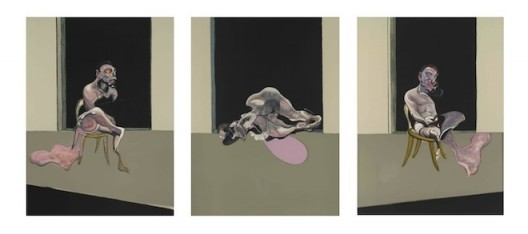 Francis Bacon, Triptych August 1972_1989, Bacon and Freud: Graphic Works, 18 January 2017 – 25 February 2017, Marlborough Graphics, London, marlboroughlondon.com 弗朗西斯·培根,《三联画1972-1989》©弗朗西斯·培根遗产基金会,《弗朗西斯·培根和卢西恩·佛洛伊精选平面作品展》,2017年1月18日-2月25日,马乐伯平面设计,伦敦