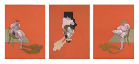 Francis Bacon, Triptych 1983, 1983, a set of three lithographs, edition of 180, 86.7 x 60.6 cm (each), © The Estate of Francis Bacon. All rights reserved / DACS 2016, Bacon and Freud: Graphic Works, 18 January 2017 – 25 February 2017, Marlborough Graphics, London, marlboroughlondon.com 弗朗西斯·培根,《三联画1983》,1983,三联一组,180版,86.7 x 60.6 cm(每幅),©弗朗西斯·培根遗产基金会,《弗朗西斯·培根和卢西恩·佛洛伊精选平面作品展》,2017年1月18日-2月25日,马乐伯平面设计,伦敦