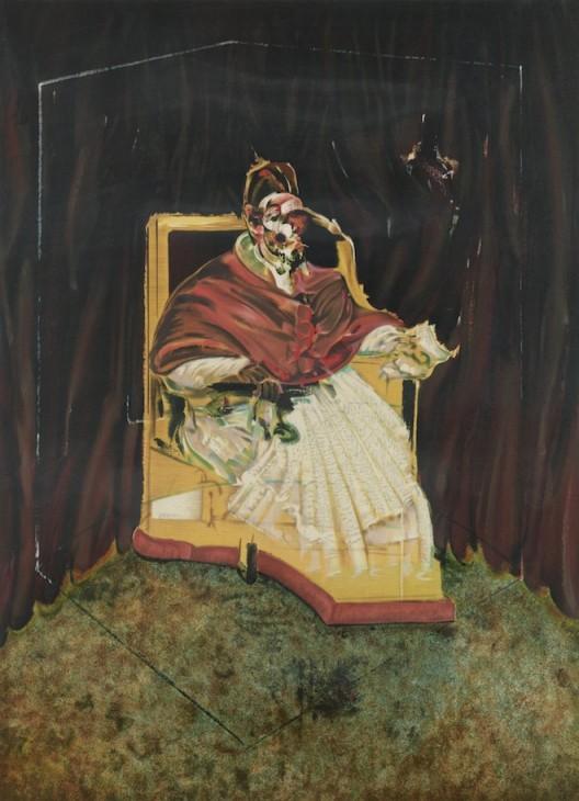 Francis Bacon, Study for a Portrait of Pope Innocent X, 1989, lithograph, 115.6 x 76.8 cm, © The Estate of Francis Bacon. All rights reserved / DACS 2016, Bacon and Freud: Graphic Works, 18 January 2017 – 25 February 2017, Marlborough Graphics, London, marlboroughlondon.com 弗朗西斯·培根《纯真X世教皇肖像画研究习作1989》,1989,平版画,115.6 x 76.8 cm(每幅),©弗朗西斯·培根遗产基金会,《弗朗西斯·培根和卢西恩·佛洛伊精选平面作品展》,2017年1月18日-2月25日,马乐伯平面设计,伦敦