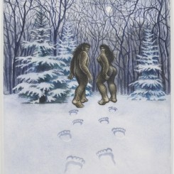 R. Crumb, Bigfoot Couple, 2000, Watercolor on paper, 17 3/4 x 14 inches (45 x 35.5 cm) © Robert Crumb, 2000. Courtesy the artist, Paul Morris, and David Zwirner, New York/London.